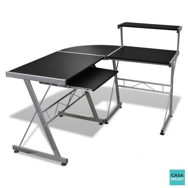 casasmart bureau d 39 angle noir pas cher achat vente bureaux rueducommerce. Black Bedroom Furniture Sets. Home Design Ideas
