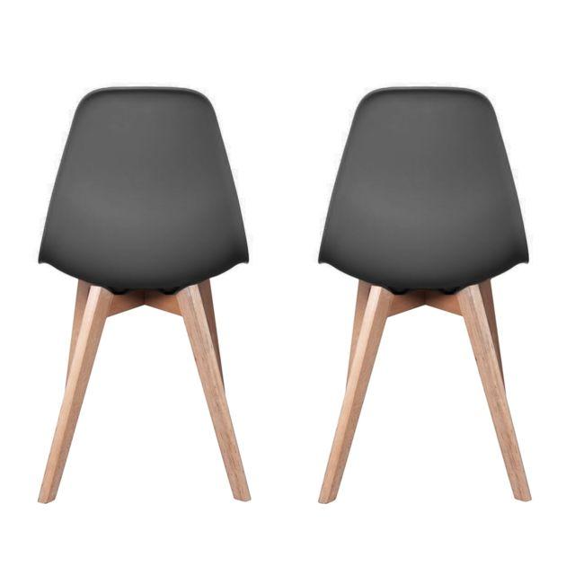 Ego Design - Chaise Stokholm Gris pieds bois lot de 2