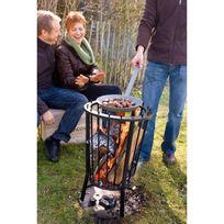 Barbecook - Brasero rond grillagé diamètre 40cm Modern Ronda Acier laqué noir