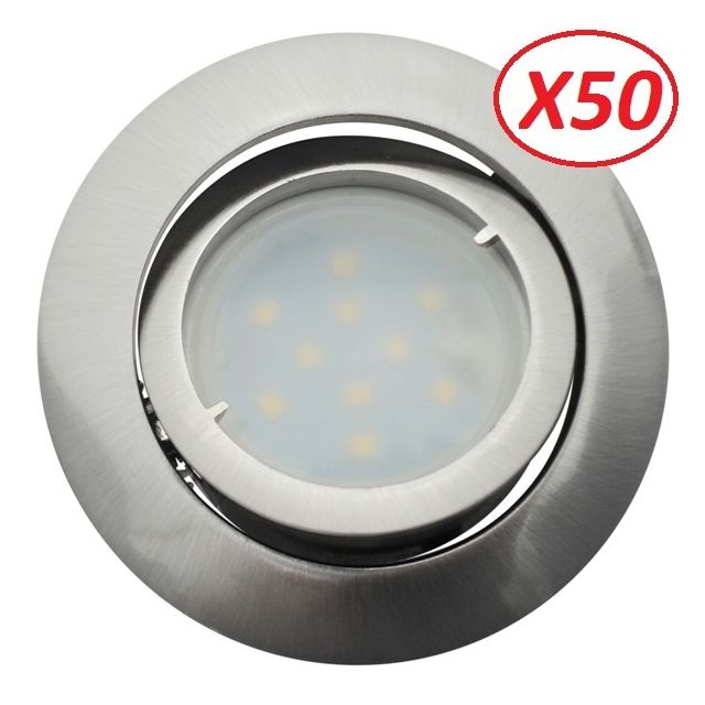 Eurobryte Lot de 50 Spot Led Encastrable Complete Satin Orientable lumière Blanc Chaud eq. 50W ref.209
