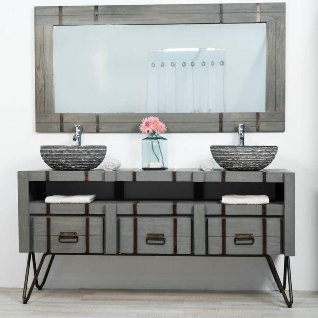 Wanda Collection Meuble double de salle de bain Loft en mindi et métal 160 cm gris