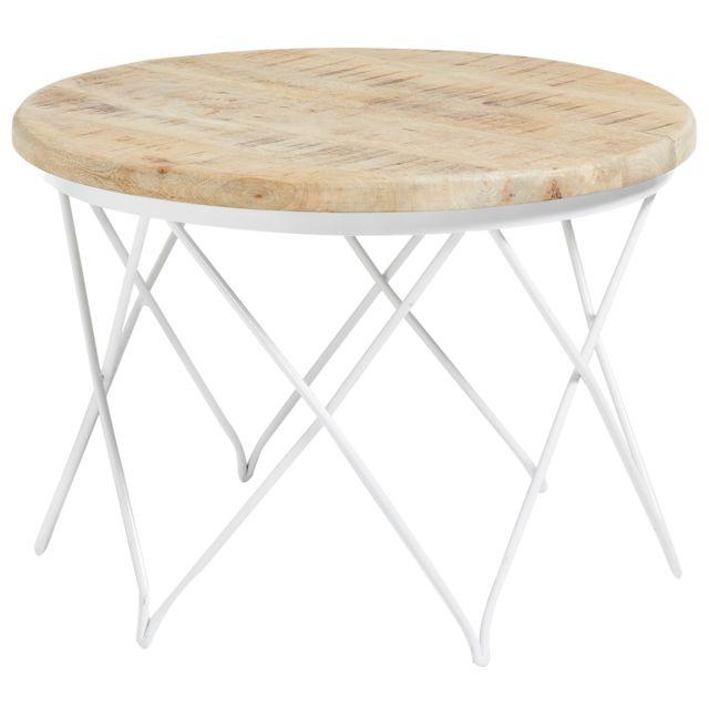 COMFORIUM - Table basse design avec structure en fer blanc et plateau en  bois de manguier 1f4c2912ed65