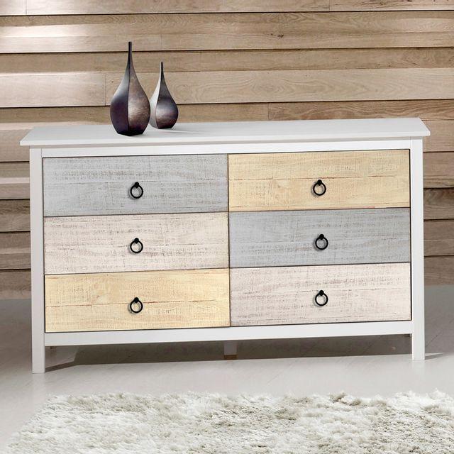 marque generique commode en bois massif 6 tiroirs longueur 130 cm flora blanc pas cher achat. Black Bedroom Furniture Sets. Home Design Ideas