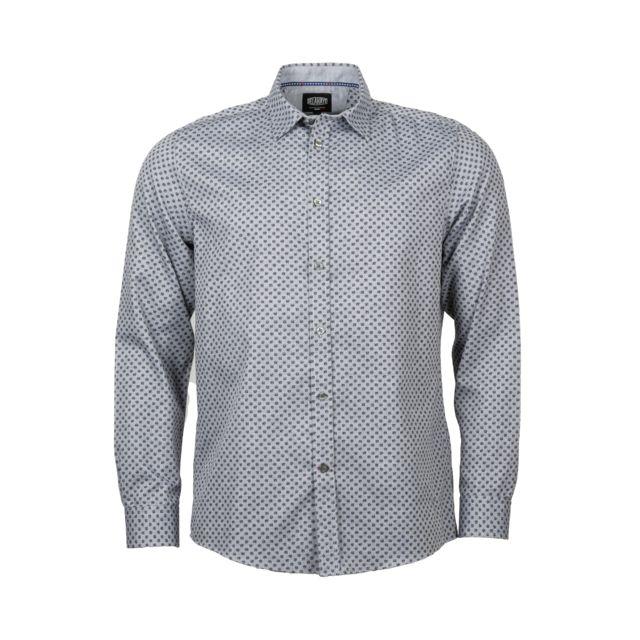 Delahaye Chemise ajustée en coton gris chiné à motifs fleuris