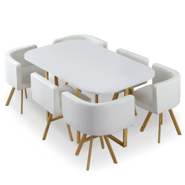 MENZZO Table et chaises Oslo XL Blanc et Simili Blanc
