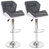 Decoshop26 - Lot de 2 tabourets de bar avec repose-pieds similicuir gris et blanc Tab04022