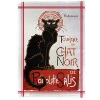 Editions Club Pom - Torchon de cuisine rectangulaire en coton Le chat Noir