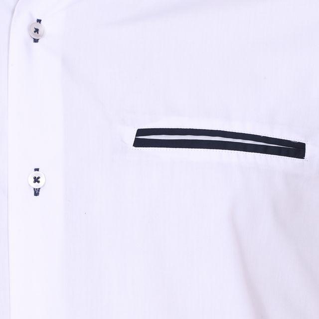 MEADRINE Chemise cintrée Méadrine en coton blanc à opposition bleu marine