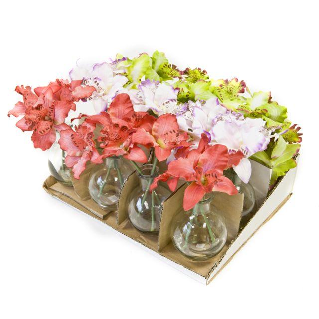 Visiodirect 12 Orchidées en pot verre 3 coloris assortis - 17 x 8 cm