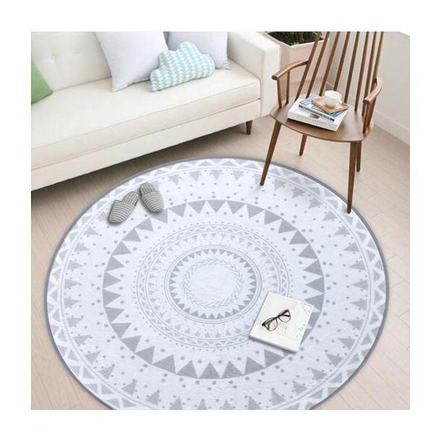 Tapis Rond De Style Nordique Scandinaves Geometrique Formes A La Mode Famille Vent Ronde Tapis Salon Chambre A Coucher Tapis 80cm