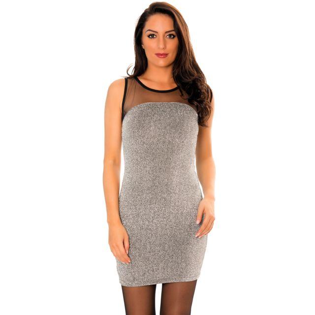 Grossiste-en-ligne - Sublime robe courte argenté à paillettes avec col en  voilage 45087876b68e