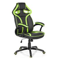 Hjh Office - Chaise gaming / Chaise de bureau Guardian simili cuir noir / vert