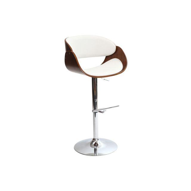 miliboo tabouret de bar design blanc et bois bent pas. Black Bedroom Furniture Sets. Home Design Ideas