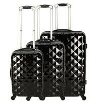 M6 Boutique - Set 3 valises Diamant 51+71+61cm Noir - Produit original vu à la Tv