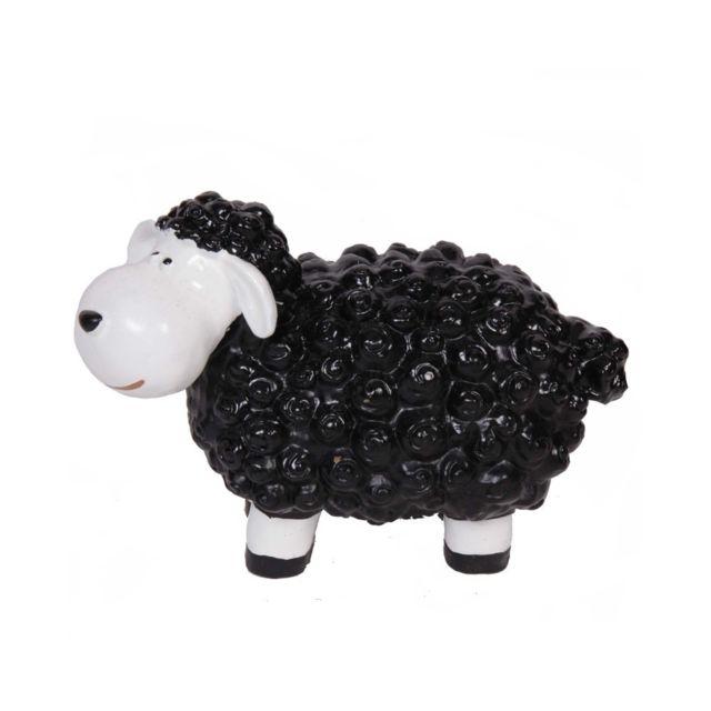 Statue en résine mouton noir - 19 cm