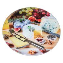 Table Passion - Plateau rond à fromage en verre tournant à motifs D.35cm Bistrot