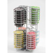 - Porte capsules tournant pour 64 capsules Tassimo - 18,4 x 18,4 x 32 cm - Chrome