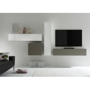 envie de meubles ensemble meuble tv mural design blanc et anthracite quadri pas cher achat. Black Bedroom Furniture Sets. Home Design Ideas
