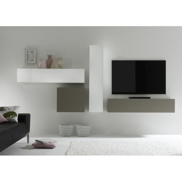 envie de meubles - ensemble meuble tv mural design blanc et ... - Meuble Tele Mural Design
