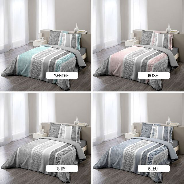 sans marque housse de couette 220 x 240 cm taies textilio diff rents coloris bleu. Black Bedroom Furniture Sets. Home Design Ideas