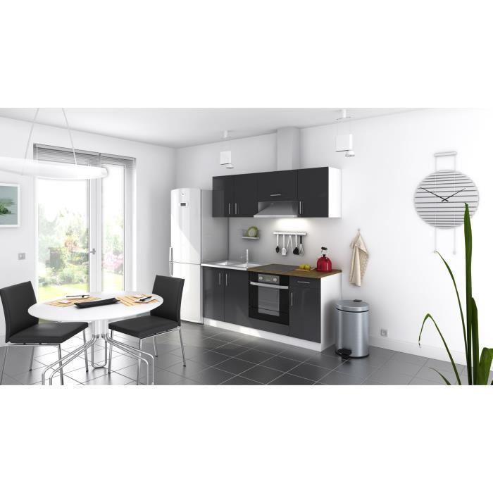 evo cuisine complete laqu e grise 180 cm pas cher achat vente rueducommerce. Black Bedroom Furniture Sets. Home Design Ideas