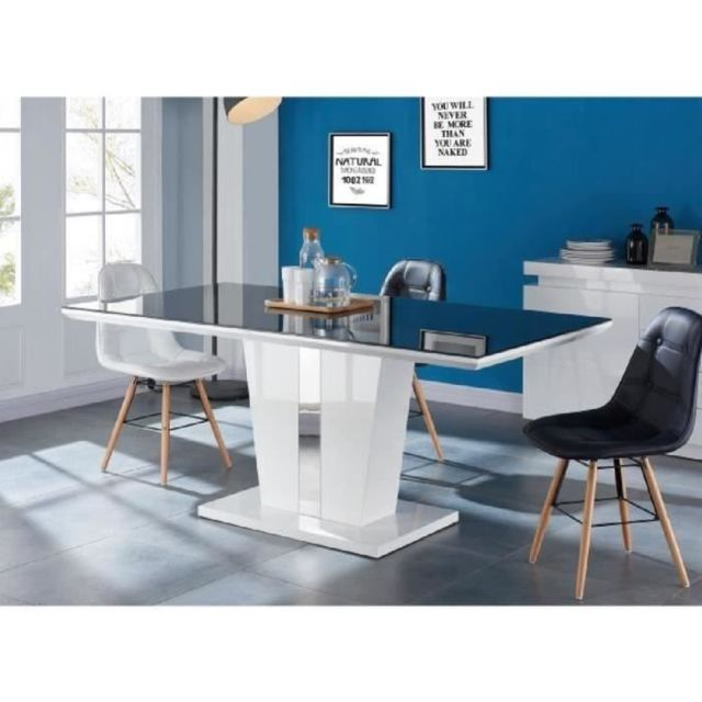 TABLE A MANGER SEULE TREVISE Table a manger 8 personnes contemporain - Laqué blanc brillant + Plateau de verre trempé no