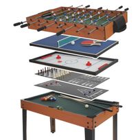 Mendler - Table de baby-foot Wakefield, billard, hockey, 7 en 1, table multijeux, 82x107x60cm