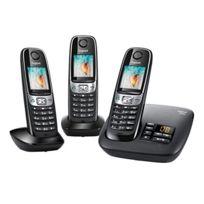 Gigaset - Telephone fixe C620A TRIO Noir sans fil avec répondeur - Fonction mains libres avec son Haute Definition HSP