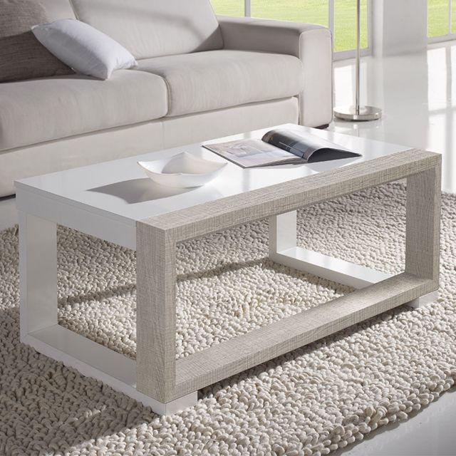 Nouvomeuble Table de salon relevable blanche et couleur bois clair Correze 2