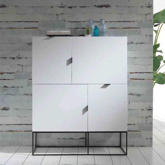 Nouvomeuble Buffet haut design blanc laqué Emilia