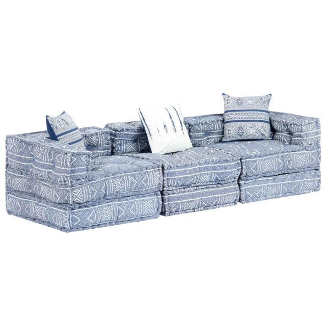 Vidaxl Canapé-lit modulaire à 3 places Bleu Tissu