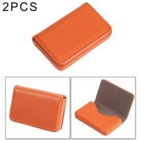 Porte-cartes Orange 2 Pcs Premium Pu étui en cuir avec fermeture  magnétique, taille 75e998308ef