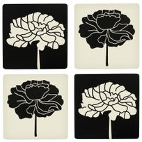 Promobo   Set Quatuor Miroir Modulable à Coller Design Zen Fleur Nature