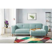BOBOCHIC - Canapé LUNA avec Pouf - Style Scandinave - Bleu Poudré