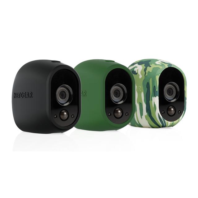 NETGEAR Pack de 3 housses en silicone pour caméra HD Arlo : 1 noire, 1 verte, 1 camouflage La maison connectée et sécurisée - Pack de 3 housses siliconePack de 3 housses en silicone pour caméra HD Arlo : 1 noire, 1 verte, 1 camouflage