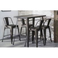- Table snack/bar, plateau et pietement metal acier finition industrielle