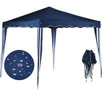 Rocambolesk - Superbe Tonnelle tente de jardin 3x3 m pavillon réception pliable bleu + Sac de transport Neuf