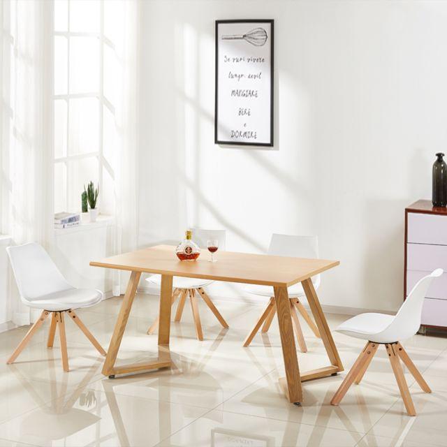 Oneboutic Table à manger rectangulaire scandinave en bois - Trevi