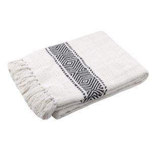 Stof - Plaid 100% coton frise tissage losange ethnique noir/blanc franges 125x150cm Valdavianc