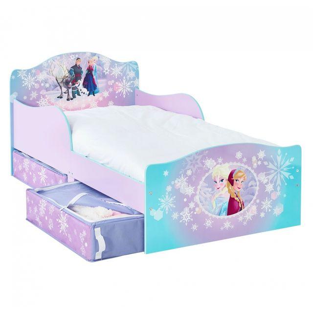 worlds apart lit enfant fille rose et turquoise reine des neiges avec rangement 70 x - Lit Enfant Fille