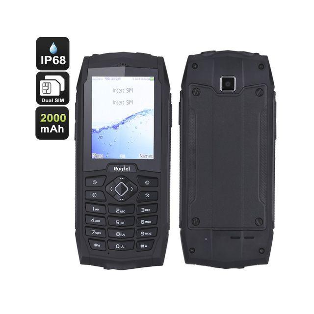Auto-hightech Telephone robuste Double-SIM, double-IMEI, lampe de poche, étanche Ip68, étanche à la poussière, aux chocs 2000mAh Noir