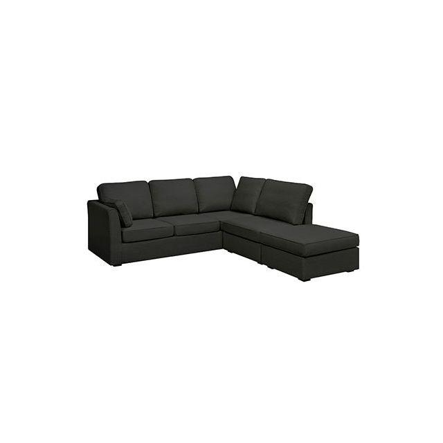 Canapé angle convertible 6cm en polyester noir - Charles