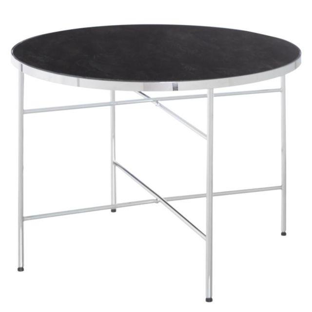 Tousmesmeubles Table basse ronde noir Métal/Verre Taille S - Marma