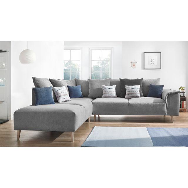 BOBOCHIC - Canapé d'angle LONDON - 6 places - Fixe - Angle gauche - Gris clair - 267cm x 79cm x 290cm