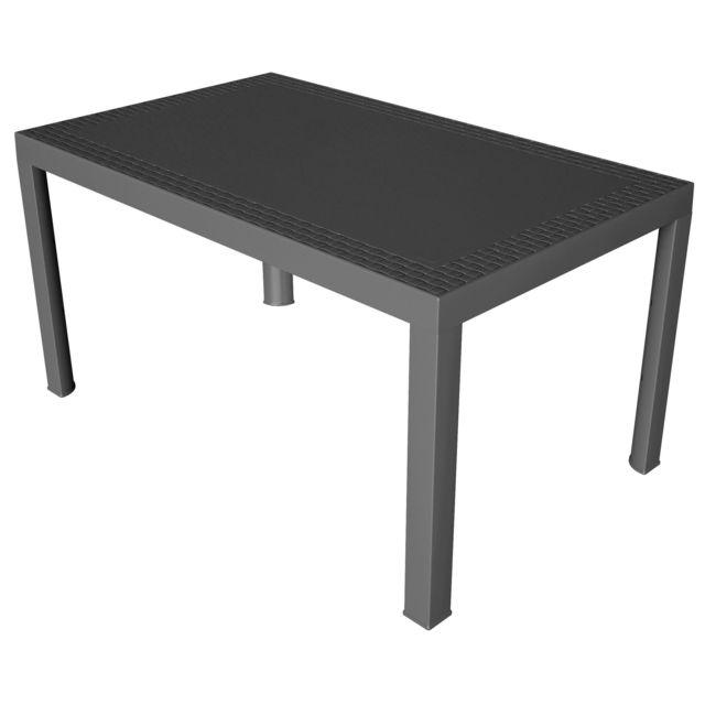 CARREFOUR DREAM - Table de jardin rectangulaire - Anthracite - 75191
