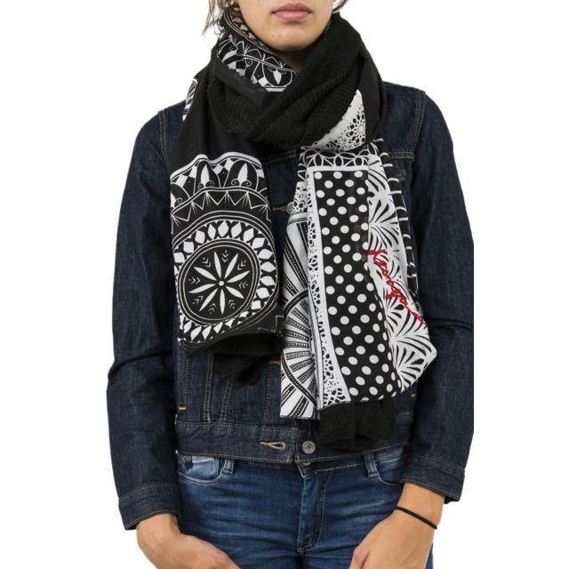 e119a60f0d99 Desigual - Foulards 17wawfg6 sandra noir - pas cher Achat   Vente Echarpes,  foulards - RueDuCommerce