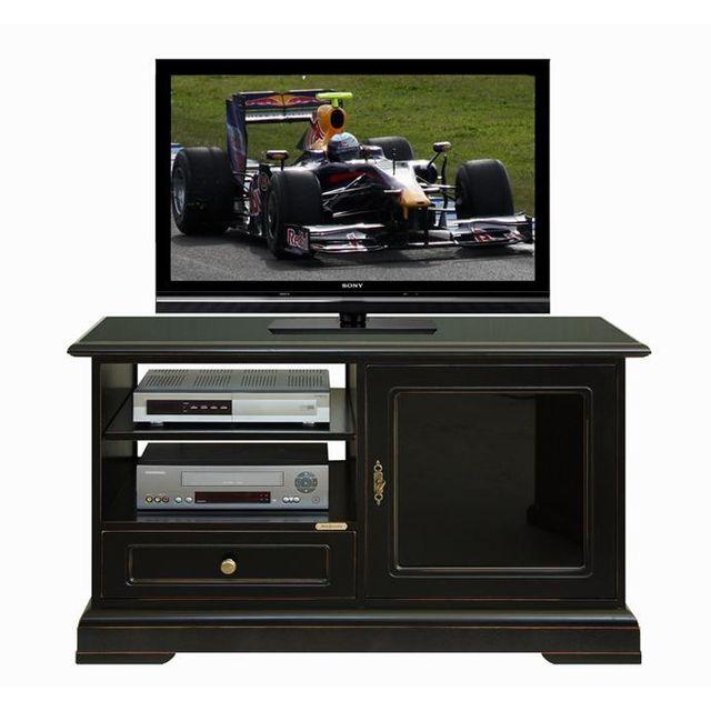 Arteferretto Meuble Tv 1 porte verre noir laqué 1 tiroir