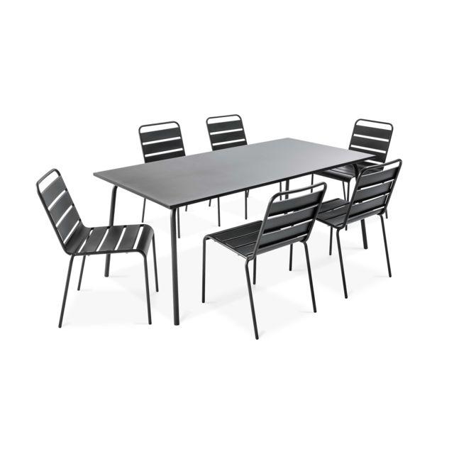 Oviala Table De Jardin Et 6 Chaises En Metal Gris Pas Cher