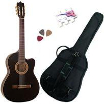 Msa - Pack Guitare Électro-Classique Noire Cordes D'addario 3 Accessoires
