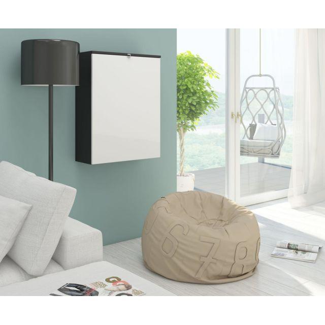 vivaldi hide bureau pliable noir mat avec blanc brillant pas cher achat vente bureaux. Black Bedroom Furniture Sets. Home Design Ideas
